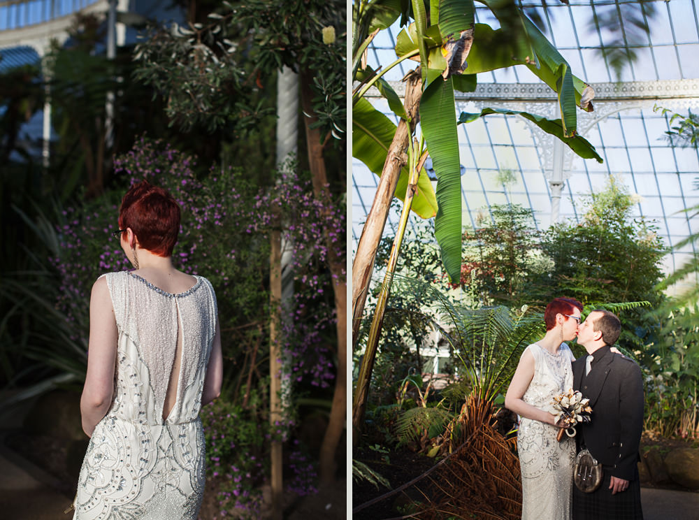 Newlywed portraits at the botanic gardens Glasgow