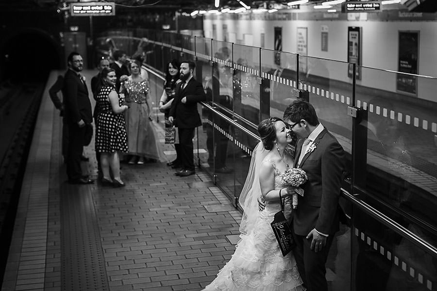 bride and groom on the tube, Glasgow